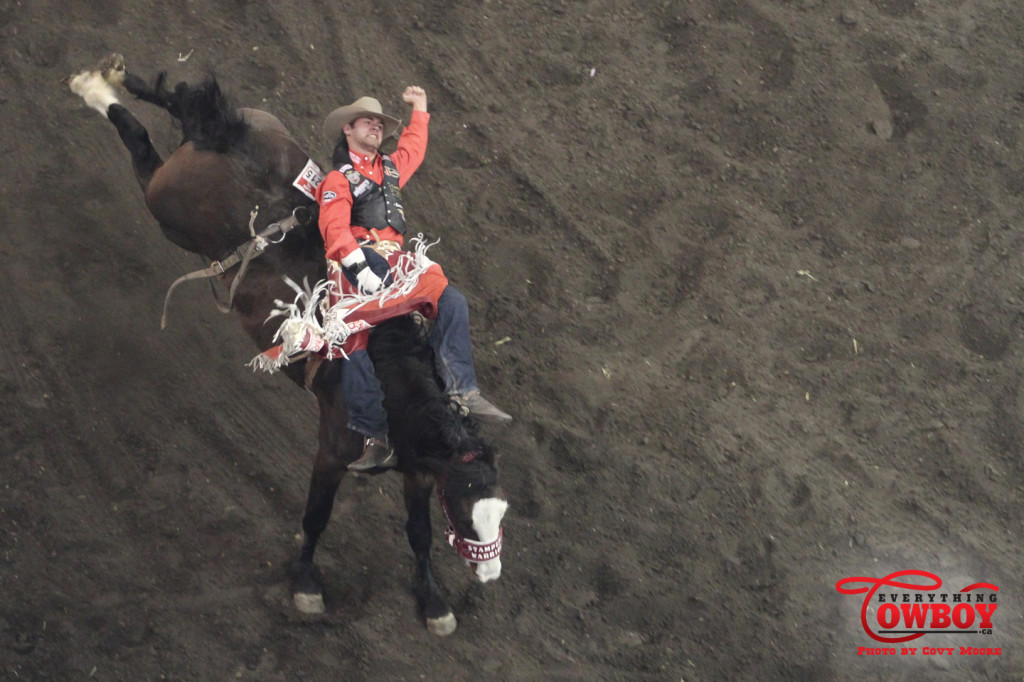 Luke Creasy competing at the Canadian Finals Rodeo in Edmonton, AB. November 2013. Photo by Covy Moore.