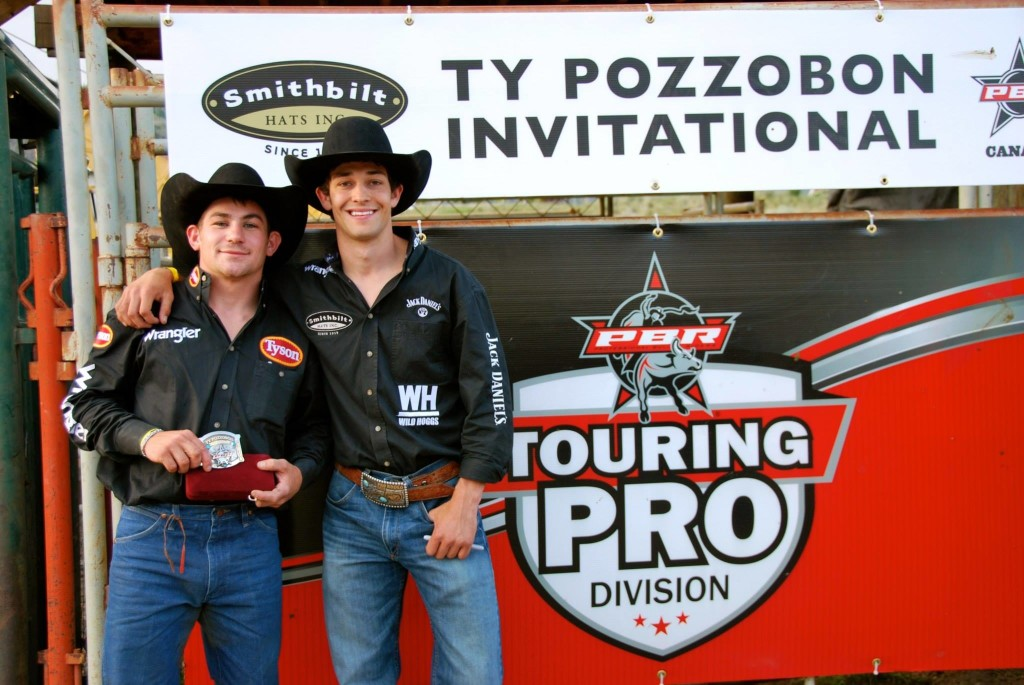 Ty Pozzobon presents event winner Chase OUtlaw with his trophy buckle for winning the 2nd Annual Ty Pozzobon Invitational. May 31st, 2014 in Merritt, BC. Photo by Gail Joe/Focus In Photography.