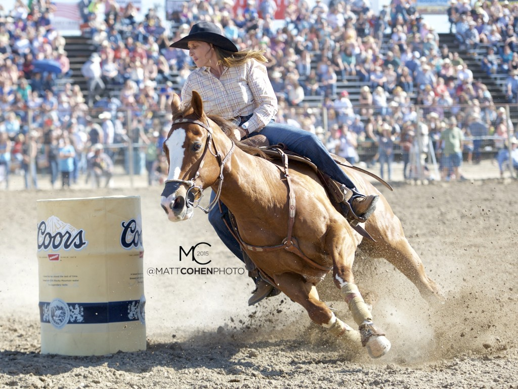 Barrel racer Deb Guelly of Okotoks, AB competes at the Oakdale Rodeo in Oakdale, CA.