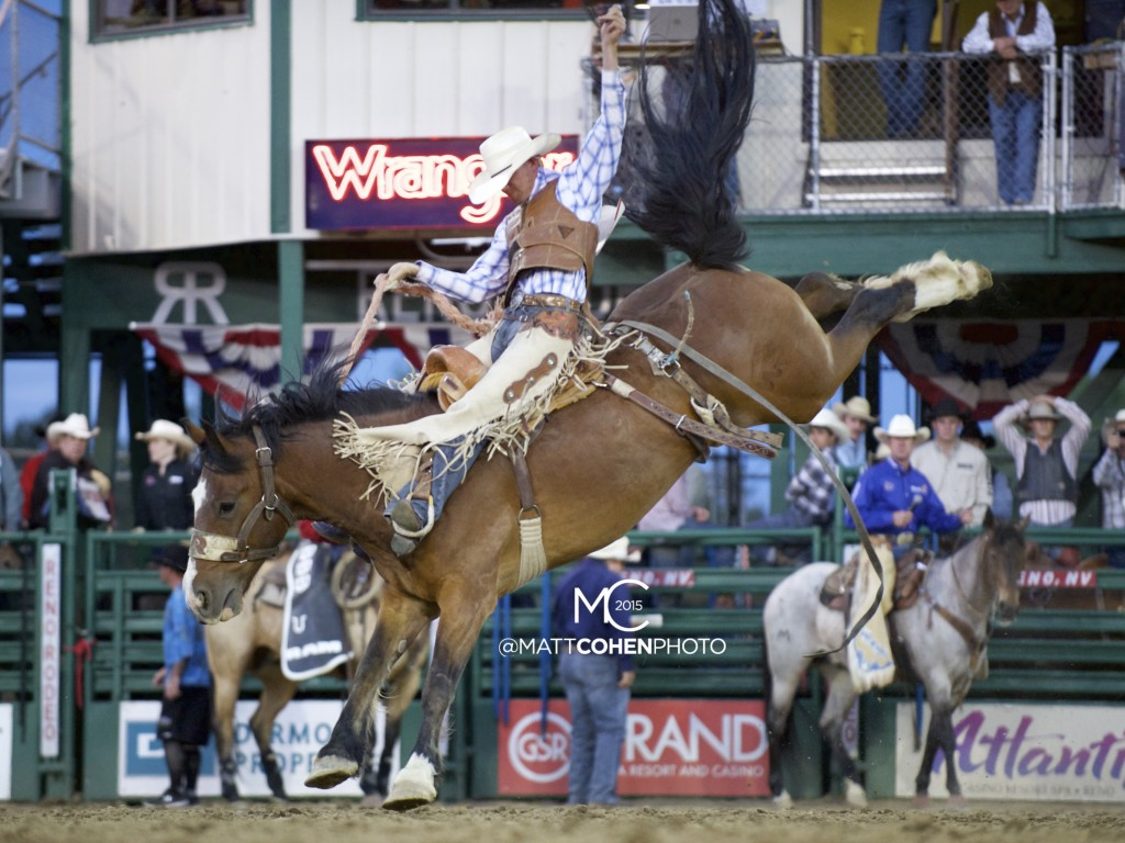 Tyrel Larsen of Inglis, Manitoba rides X178 Big & Rich of Western Rodeos, Reno 2015