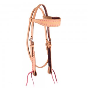Cactus Saddlery Rough Out Headstall with Buckstitching