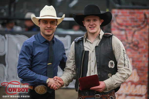 Chad Besplug and Chad Besplug Invitational champion Brock Radford after the third annual edition of the CPRA bullriding event in Claresholm, AB.