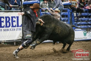 Scott Waye fights a bull during the inaugural Bullfighter's Only event on Canadian soil in Red Deer.