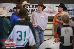 Scott Waye, despite injuries, still attended and taught at his bullfighting school in Stettler AB February 27.